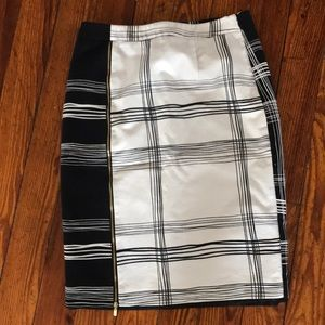 Black and white pencil skirt.